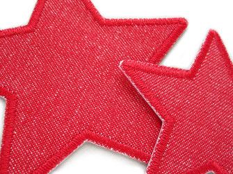 Bild: Stern Bügelflicken aus rotem Jeansstoff, Jeansflicken Stern rot