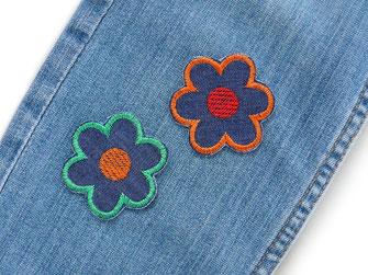 !B: bunte Blumen Bügelbilder im Retro Design als Jeansflicken