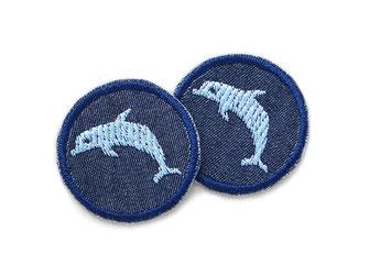 Bild: Delfin Patch Jeans Flicken zum aufbügeln mini hellblau, Delphin Bügelbild, Hosen nachhaltig mit Flicken reparieren