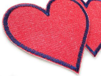 Retro Herz Bügelflicken aus rotem Jeansstoff, robuste Hosenflicken für Mädchenhosen