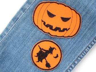 Bild: Hosenflicken Kürbis und Hexe orange, Knieflicken zum aufbügeln für Halloween