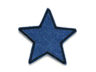 !B: kleiner Stern Bügelflicken aus dunkelblauem Jeansstoff mit schwarzer Umrandung