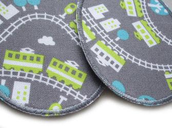 Bild: Stoff Bügelflicken für Kinder mit Eisenbahn neon grau