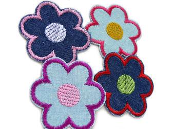 Bild: Blumen Bügelbilder als kleine Jeansflicken