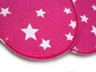 Bild: mit Flicken zum aufbügeln Hosen nachhaltig reparieren, Bügelflicken mit Stern in pink