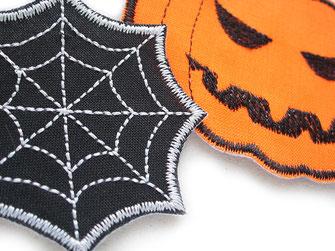 Bild: Spinnennetz und Kürbis orange Bügebilder, Halloween Aufnäher zum aufbügeln