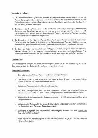 """Informationen zur Ausschreibungsverfahren für Bebauungsplan Nr. 3 """"Hüder Feld"""" und Nr. 6 """"Vor dem Ort"""""""