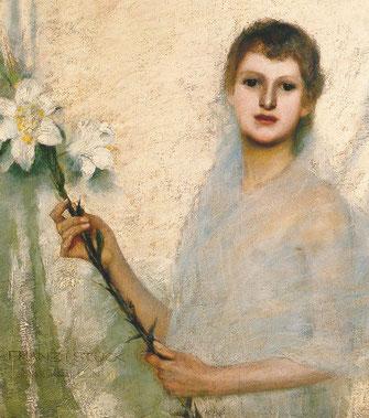 Hochbegabte Frau mit Blumen im Kopf