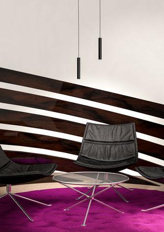 Sitzecke mit Hängeleuchten, 3D-Rendering eines selbst entworfenen Raumes