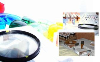 Das foto zeigt einige Hilfsmittel wie Pularisationsfilter, Farbbrillen und Signalverstãrker.