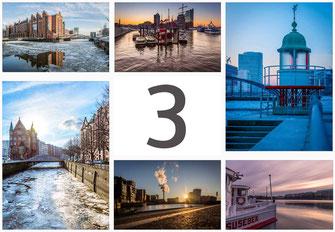 Bruecke Hafencity Spiegelung Morgensonne Sonne Hamburg