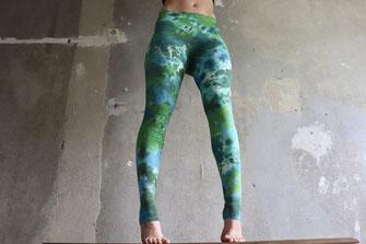 Green blue Splash Batik Leggings,Gr.XS,Yogaleggings,Festival,Unikat,Pilates,Schnürbatik