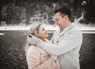 Coupleshooting, Grüner See, Schnee, Paarshooting, Schneeshooting