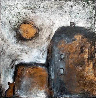 Heimatlos - Öl / Acryl auf Leinwand - 40 x 40 (silber gerahmt)