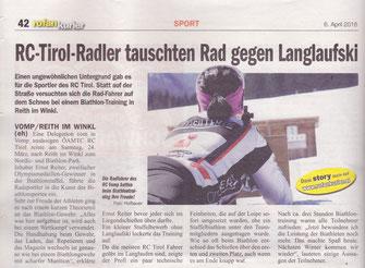 RC Radclub ÖAMTC Tirol Vomp Julia Deuerlein Regionalsport Rofankurier April 2018 Ernst Reiter Sportperformance Biathlon Langlauf Schießen Gewehr Reith im Winkl Bayern Deutschland Loipe Rad Rennrad Kössen Walchsee Schwaz Tirol Österreich