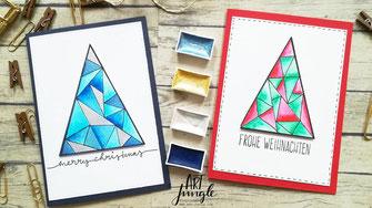 weihnachtskarte Weihnachtsbaum triangle watercolor
