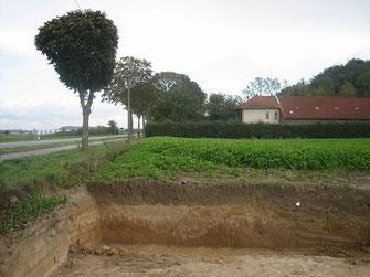 Der Straßengraben der via belgica bei Gut Blaustein.