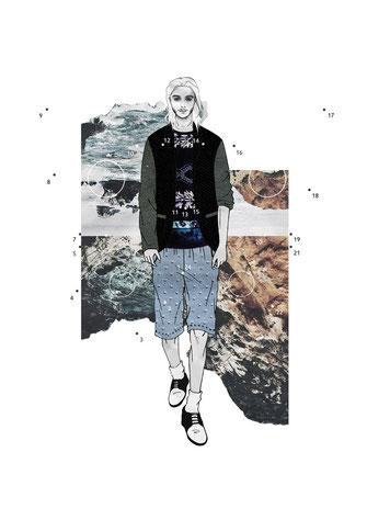 apollo-artemis, fashion, design, sustainable, handmade, ikarus, mixed media, artwork, mood, illustration, model, landscape