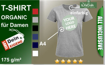 T-Shirt Damen aus bio Baumwolle mit Ihr Druckmotiv