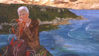 摩文仁の覚え Mabuni no Oboe,  Recuerdo de Mabuni, 91x155 cm, 2002. Colección privada.