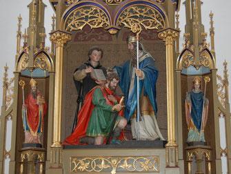Gaden: Rupert tauft Theodo, Altarskulptur