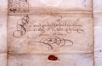 Briefkuvert Pfarrer Kiene 1702