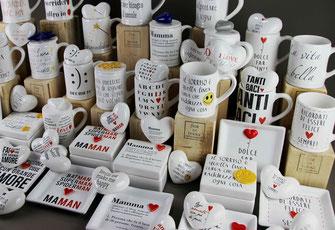 bicchieri con manico, mug in ceramica con frasi fatta a amano in italia