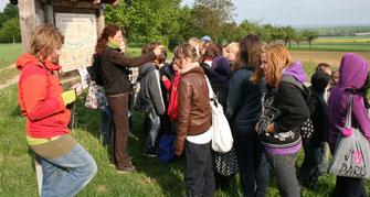 Ortolanexkursion mit einer Schulklasse, Foto: O. Deppisch