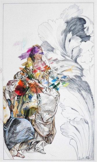 H S Dessin N° 6. Crayon de couleu/papier. 33 x 19