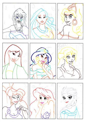 Kakao-Bogen: Walt Disney-Mädchen (Konturen)