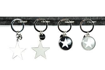 Schlüsselanhänger, silver, Sterne