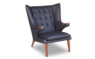 Ohren-Sessel, Lounge-chair, Lounge-Sessel, Fernsehsessel in echtem Leder Schwarz © NEUERRAUM