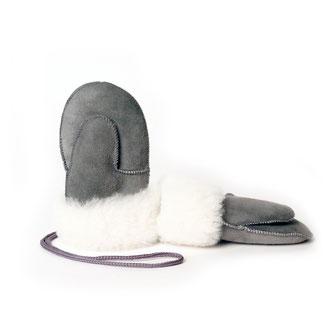 Moufles enfant moufle mitaine gants en peau d'agneau peau lainée peau de mouton retournée intérieur fourré fourrure naturelle only mouton gris grise cuir d'agneau intérieur fourré mouton