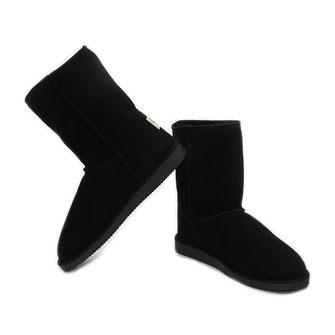 Bottes en peau d'agneau retournée fourrure naturelle cuir moon boots fourré chaussures hautes montantes fourrure noire noir peau de mouton