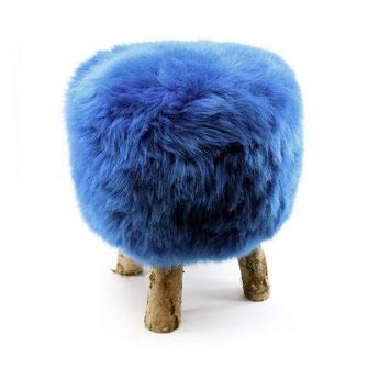 Tabouret en bois de bouleau naaturel brut 4 pieds fourrure peau laine de mouton agneau bleu dur assise chaise mousse à mémoire de forme