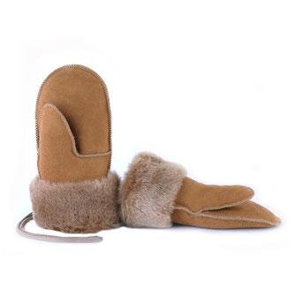Moufles enfant moufle mitaine gants en peau d'agneau peau lainée peau de mouton retournée intérieur fourré fourrure naturelle only mouton camel marron beige cuir d'agneau intérieur fourré mouton