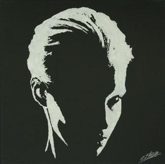 Profil clair obscur en peinture acrylique