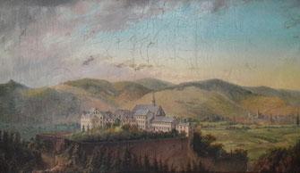 Im Kloster Calvarienberg wurde auch Wein hergestellt. Auf diesem Gemälde aus dem 18. Jahrhundert ist zu sehen, wie wenig bebaut die Landschaft damals war.