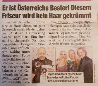 Bericht von Wien Heute (April 2019) - Alexander Lepschi ist Hairdresser of the Year 2019