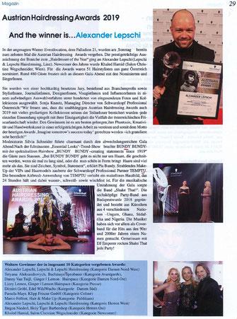Bericht von Der Österreichische Friseur (Mai 2019) - Alexander Lepschi ist Hairdresser of the Year 2019