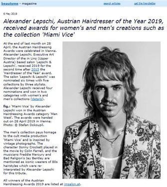 Bericht von beautyme.com (Mai 2019) - Alexander Lepschi ist Hairdresser of the Year 2019