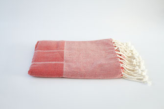 fouta chevron  rouge 1mx2m