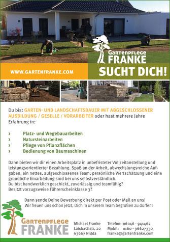 Gartenpflege Franke sucht Verstärkung - Garten- und Landschaftsbauer mit ageschl. Ausbildung / Geselle / Vorarbeiter und oder viel Erfahrung - jetzt bewerben!