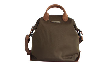 lady shoulderbag olive with leather applications
