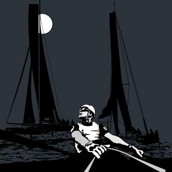 Vektorgrafik Bild von 3  Catamaran GC32 Segeljachten im Mondschein