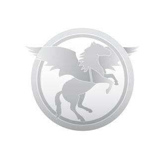 graues Pferd mit Flügeln vektorisiert in zwei Ringen