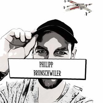 Portrait von Philipp Brunschwiler als Comic Zeichnung.
