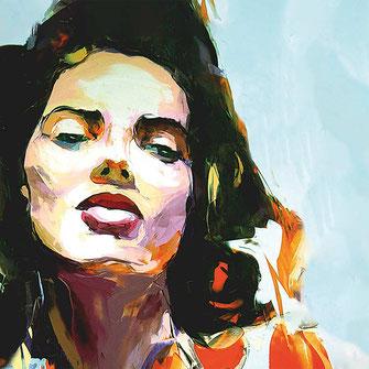 Digitale Illustration eines Frauen Portraits in Farbe