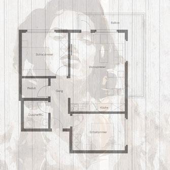 Grundriss einer3 Zimerwohnung gedruckt auf die Betterwand mit Frauenportrait