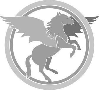 graue Grafik eines geflügelten Pferdes in zwei Kreisen